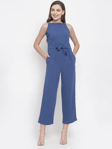 Jompers Women Blue Solid Embellished Jumpsuit