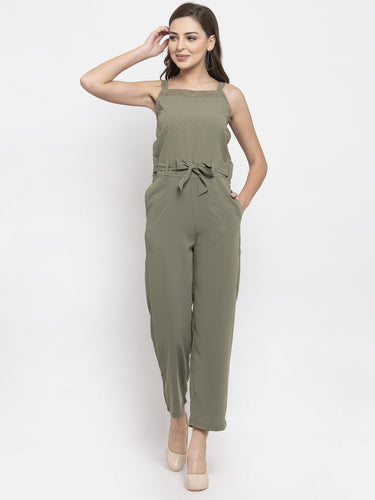 Jompers Women Green Solid Embellished Jumpsuit