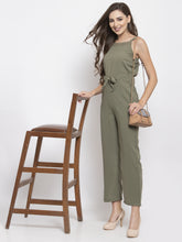 Load image into Gallery viewer, Jompers Women Green Solid Embellished Jumpsuit