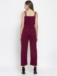 Jompers Women Purple Solid Embellished Jumpsuit