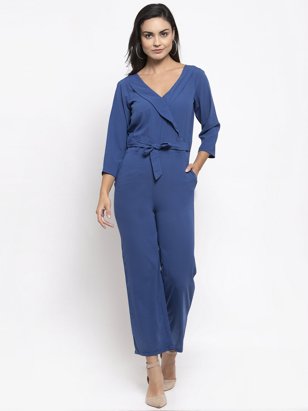 Jompers Women Blue Solid Jumpsuit