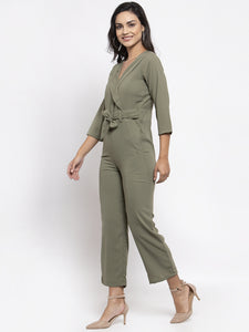 Jompers Women Pista-Green Solid Jumpsuit