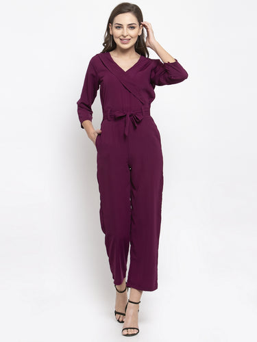 Jompers Women Purple Solid Jumpsuit