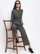 Load image into Gallery viewer, Jompers Women Grey Solid Jumpsuit