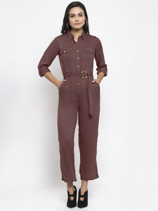 Jompers Women Brown Solid Jumpsuit