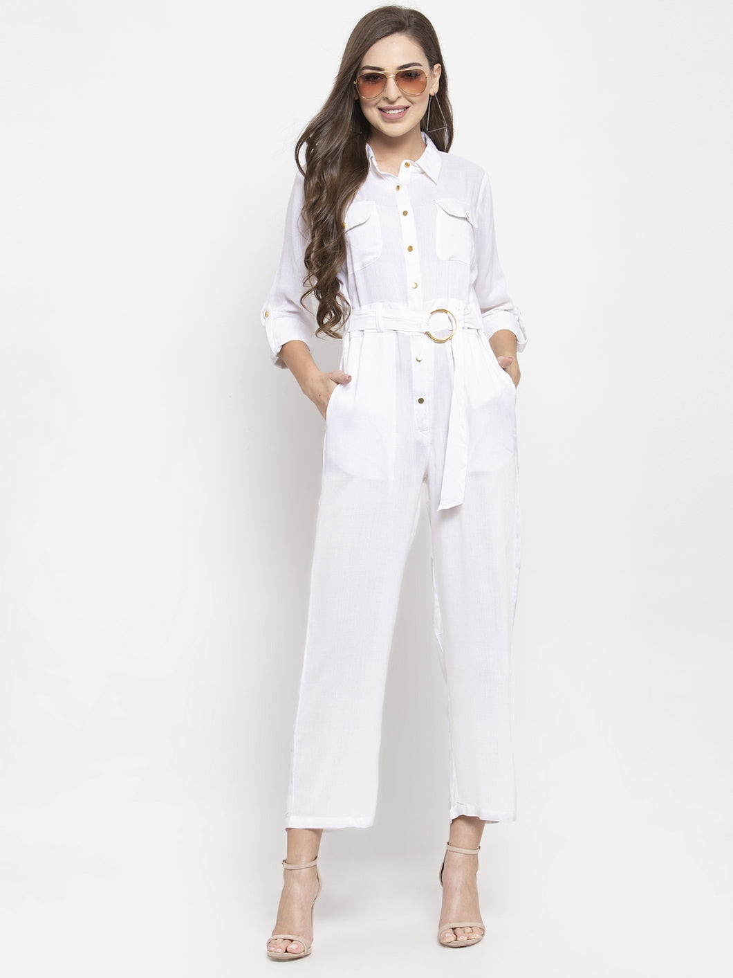 Jompers Women White Solid Jumpsuit