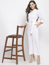 Load image into Gallery viewer, Jompers Women White Solid Jumpsuit