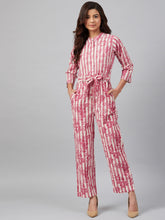 Load image into Gallery viewer, Jompers Women Off-White & Pink Striped Mandarin Collar Basic Jumpsuit