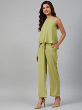 Load image into Gallery viewer, Jompers Women Green-Coloured Solid Halter Neck Basic Jumpsuit