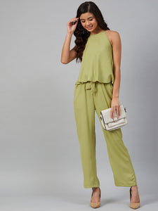 Jompers Women Green-Coloured Solid Halter Neck Basic Jumpsuit