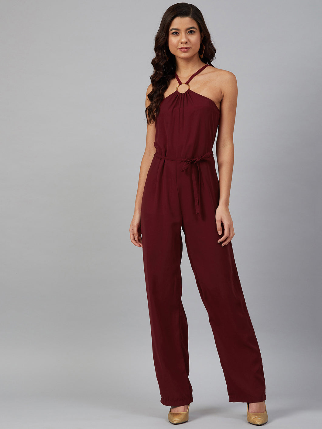 Jompers Women Maroon Solid Basic Halter Neck Basic Jumpsuit