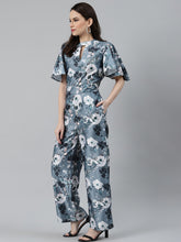 Load image into Gallery viewer, Jompers Women Grey & Off-White Printed Keyhole Neck Flared Sleeves Basic Jumpsuit
