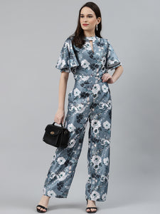 Jompers Women Grey & Off-White Printed Keyhole Neck Flared Sleeves Basic Jumpsuit