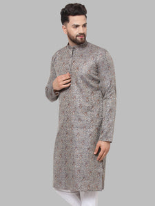 Jompers Men Grey & White Woven Design Kurta Only