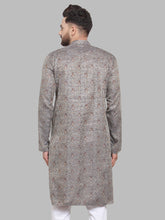 Load image into Gallery viewer, Jompers Men Grey & White Woven Design Kurta Only