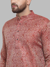 Load image into Gallery viewer, Jompers Men Maroon & White Woven Design Kurta Only