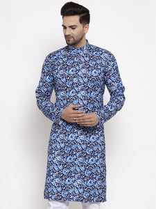 Jompers Men Blue Printed Kurta Only