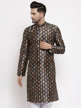 Load image into Gallery viewer, Jompers Men Black Printed Kurta Only