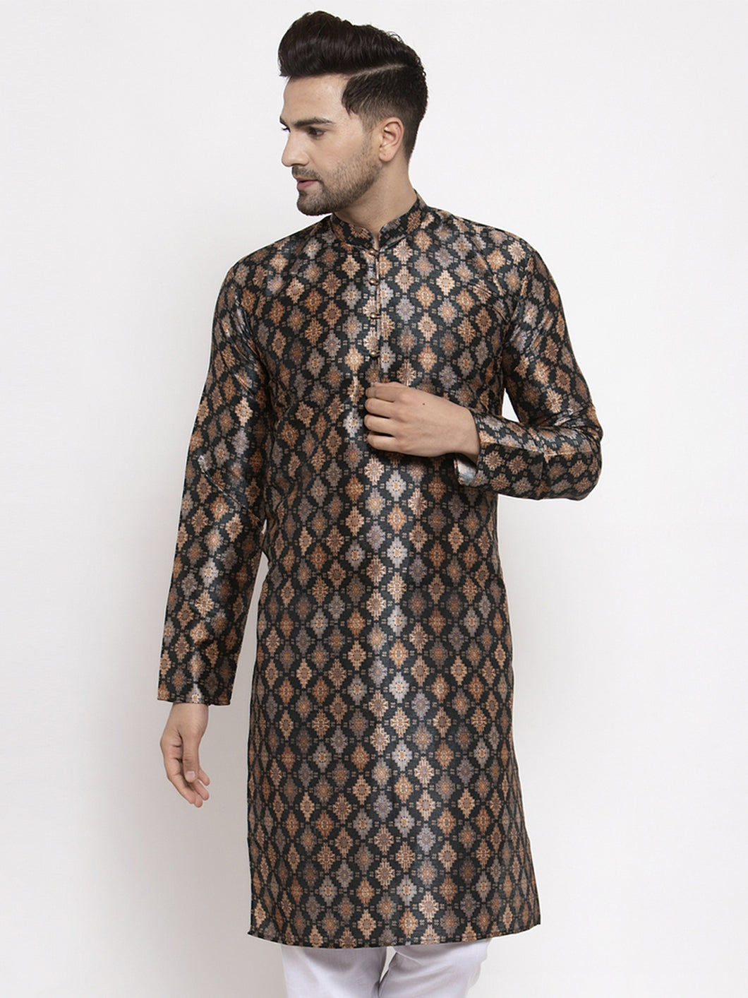Jompers Men Black Printed Kurta Only