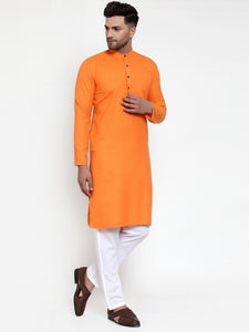 Orange & White Solid Kurta Only