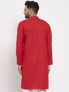 Men Red & White Solid Kurta Only