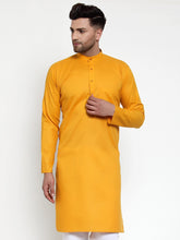 Load image into Gallery viewer, Jompers Men Mustard Yellow & White Solid Kurta Only