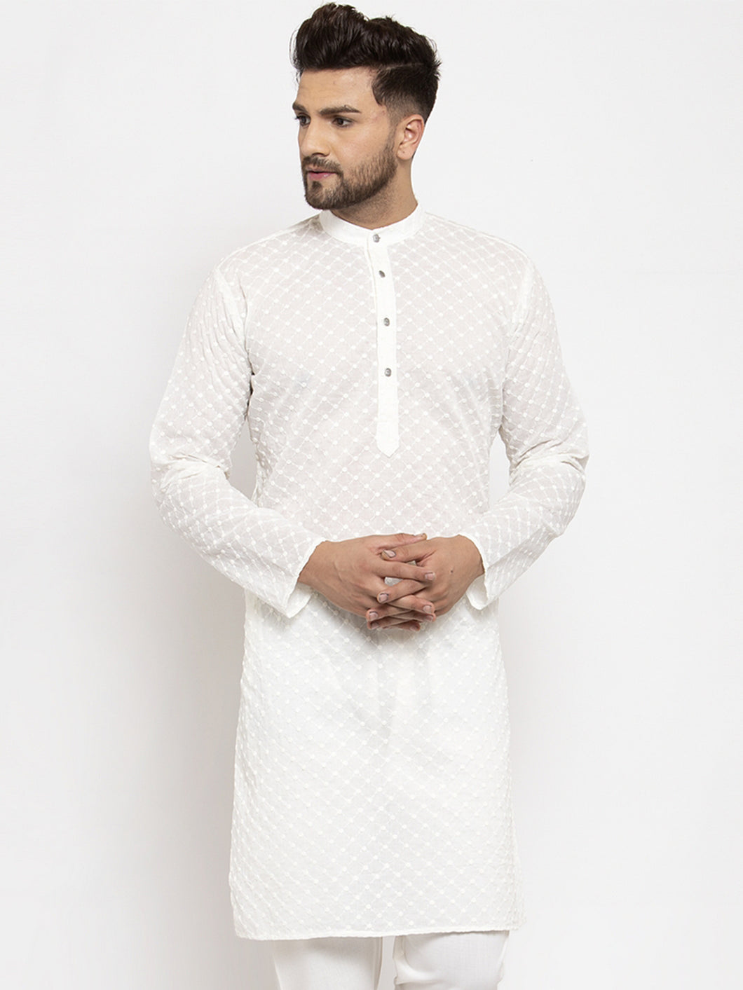 Jompers Men Cream Chikan Kurta Only ( KO 561 Cream )