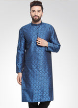 Load image into Gallery viewer, Men Royal-Blue Colored & Black Self Design Kurta Only