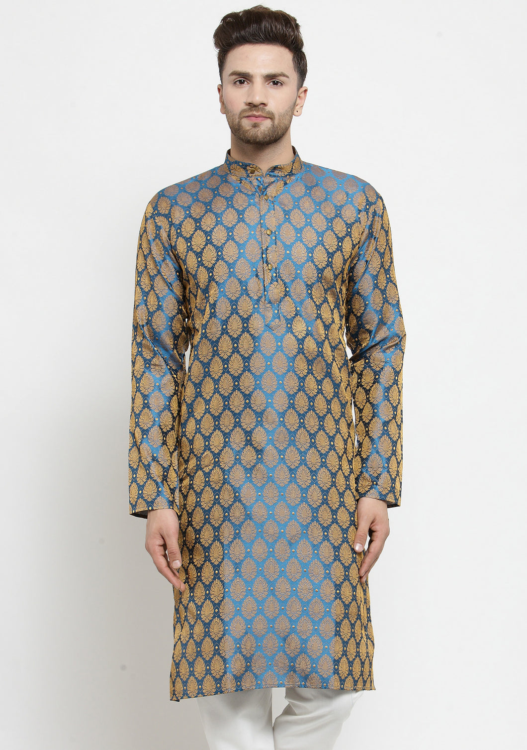 Men Blue-Colored & Golden Self Design Kurta Only ( KO 586 Blue )