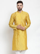 Load image into Gallery viewer, Jompers Men Yellow & Golden Self Design Kurta Only ( KO 590 Yellow )