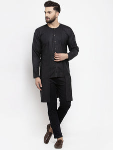 Jompers Men Black Solid high-low Kurta