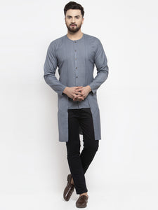 Jompers Men Grey Solid high-low Kurta