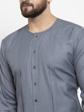 Load image into Gallery viewer, Jompers Men Grey Solid high-low Kurta