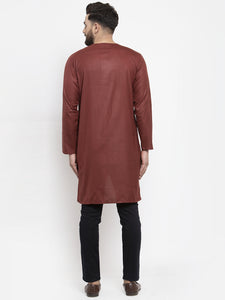 Jompers Men Maroon Solid high-low Kurta