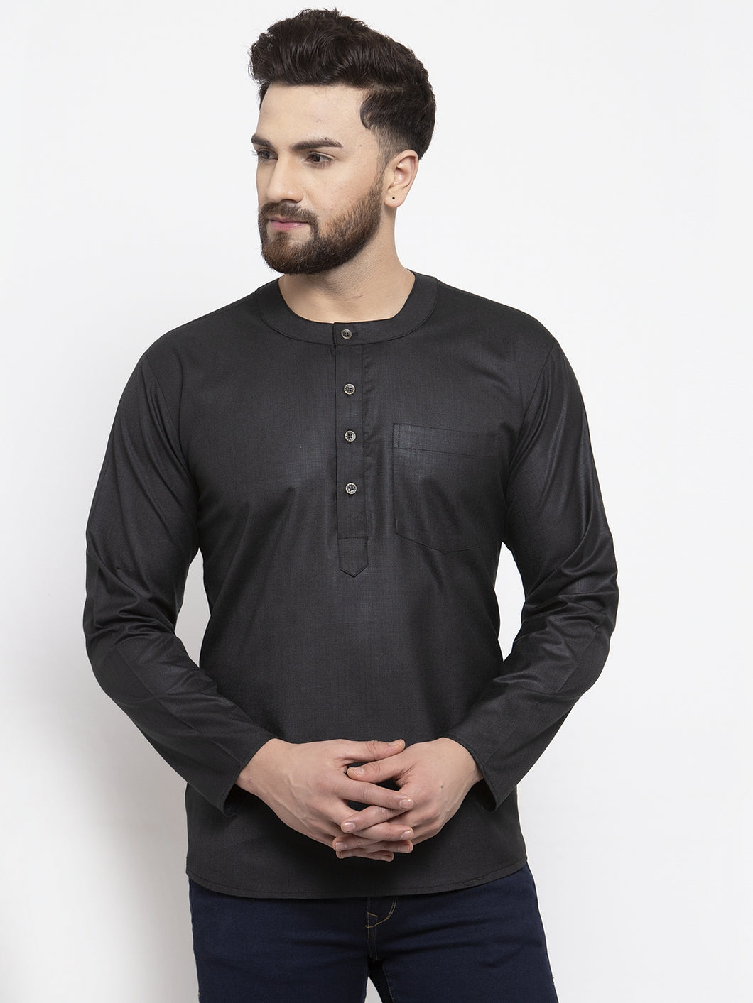 Jompers Men Black Solid Straight Short Kurta
