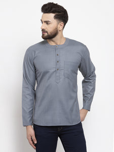 Jompers Men Grey Solid Straight Short Kurta