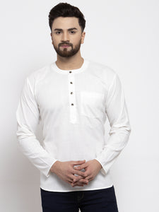 Jompers Men White Solid Straight Short Kurta