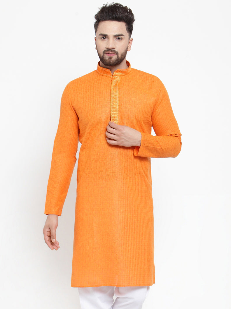 Jompers Men Orange & White Embroidered Kurta Only