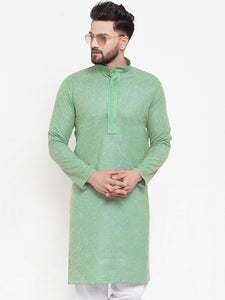 Jompers Men Sea Green & White Embroidered Kurta Only ( KO 617 Sea-Green )