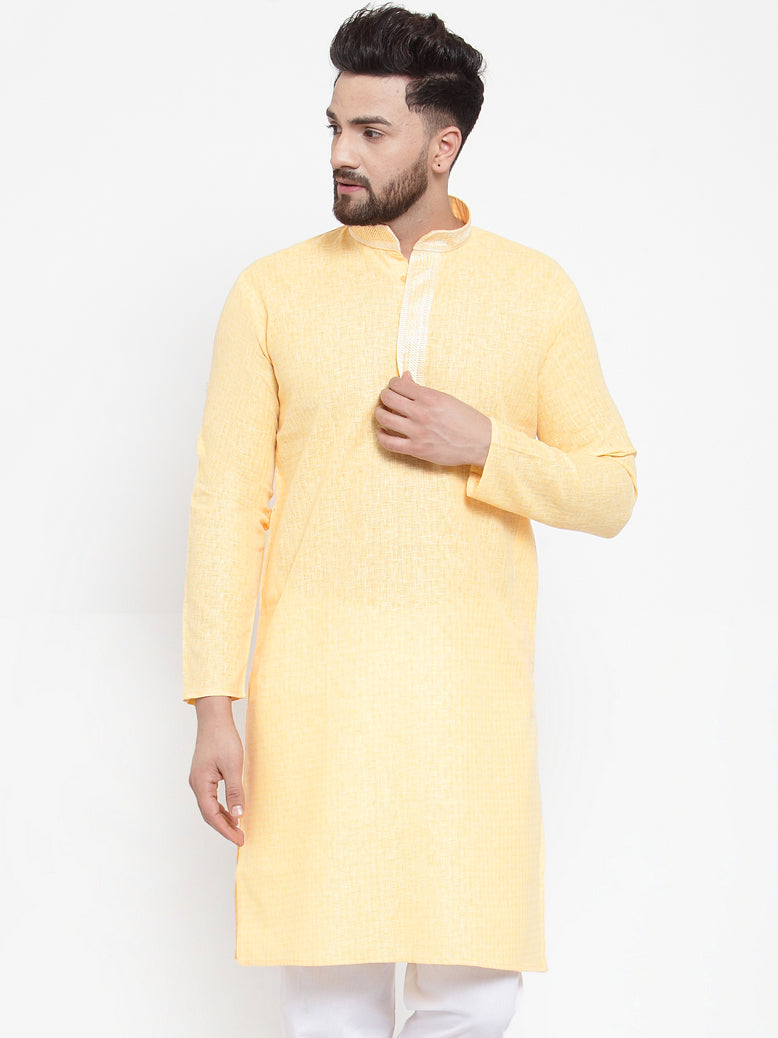 Jompers Men Yellow & White Embroidered Kurta Only