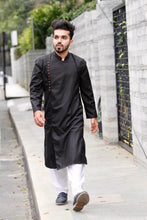 Load image into Gallery viewer, Jompers Men Black Solid Kurta with Churidar