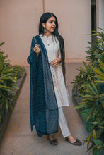 Load image into Gallery viewer, Jompers Women Off-White & Navy Blue Solid Kurta with Trousers & Dupatta