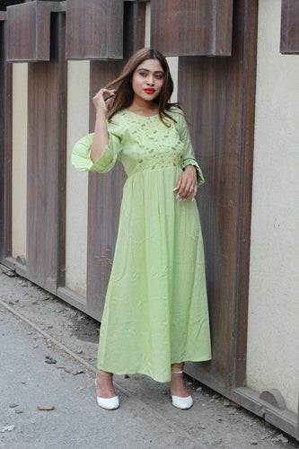 Jompers Women Green & Golden Yoke Design A-Line Kurta