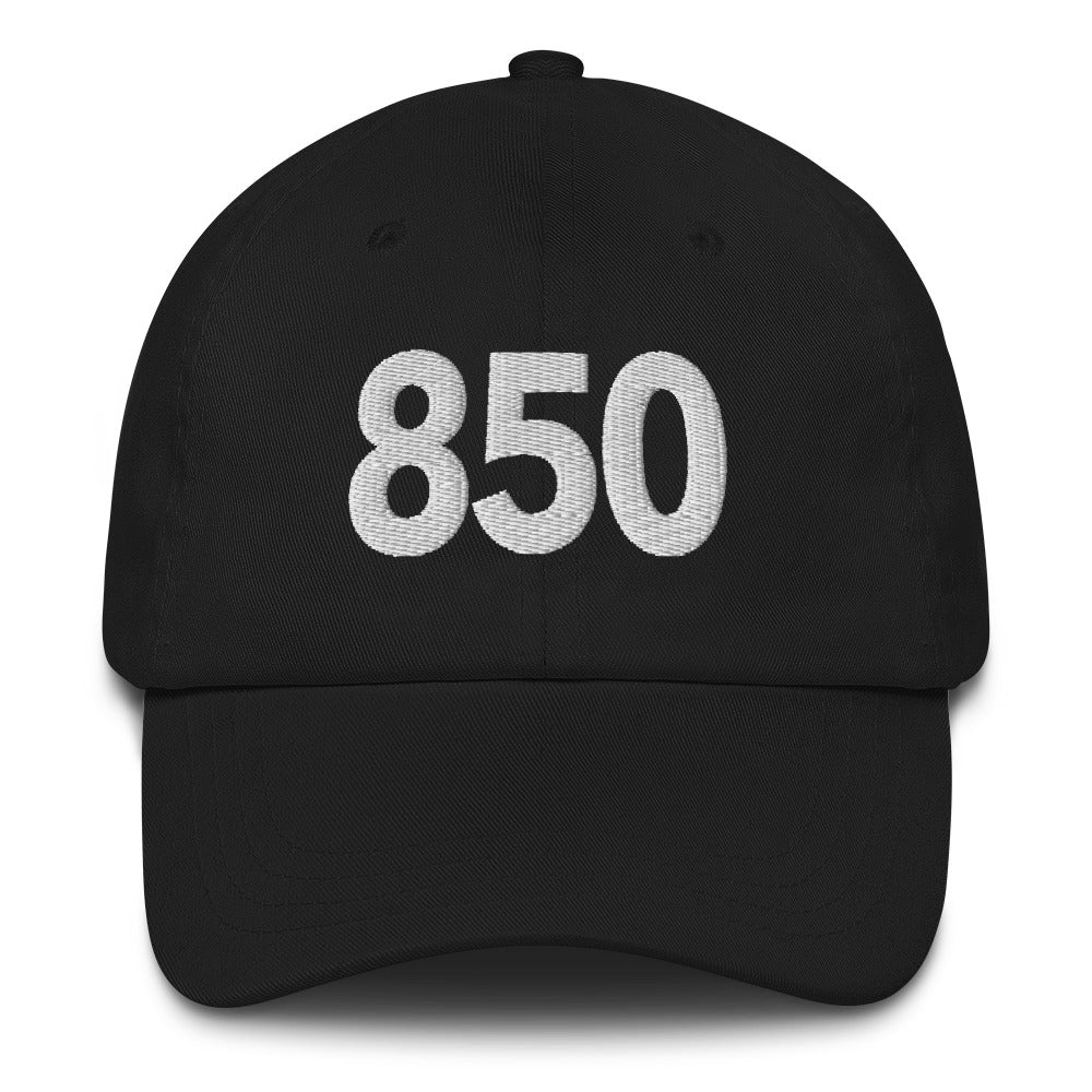 850 Area Code Dad Hat - White Detail