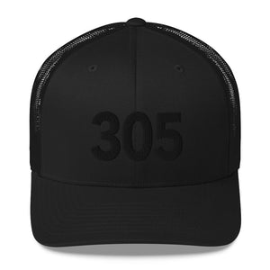 305 Area Code Trucker Hat - Black Detail