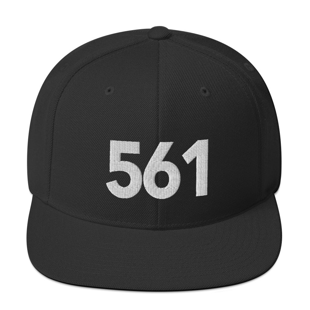 561 Area Code Snapback Hat - White Detail