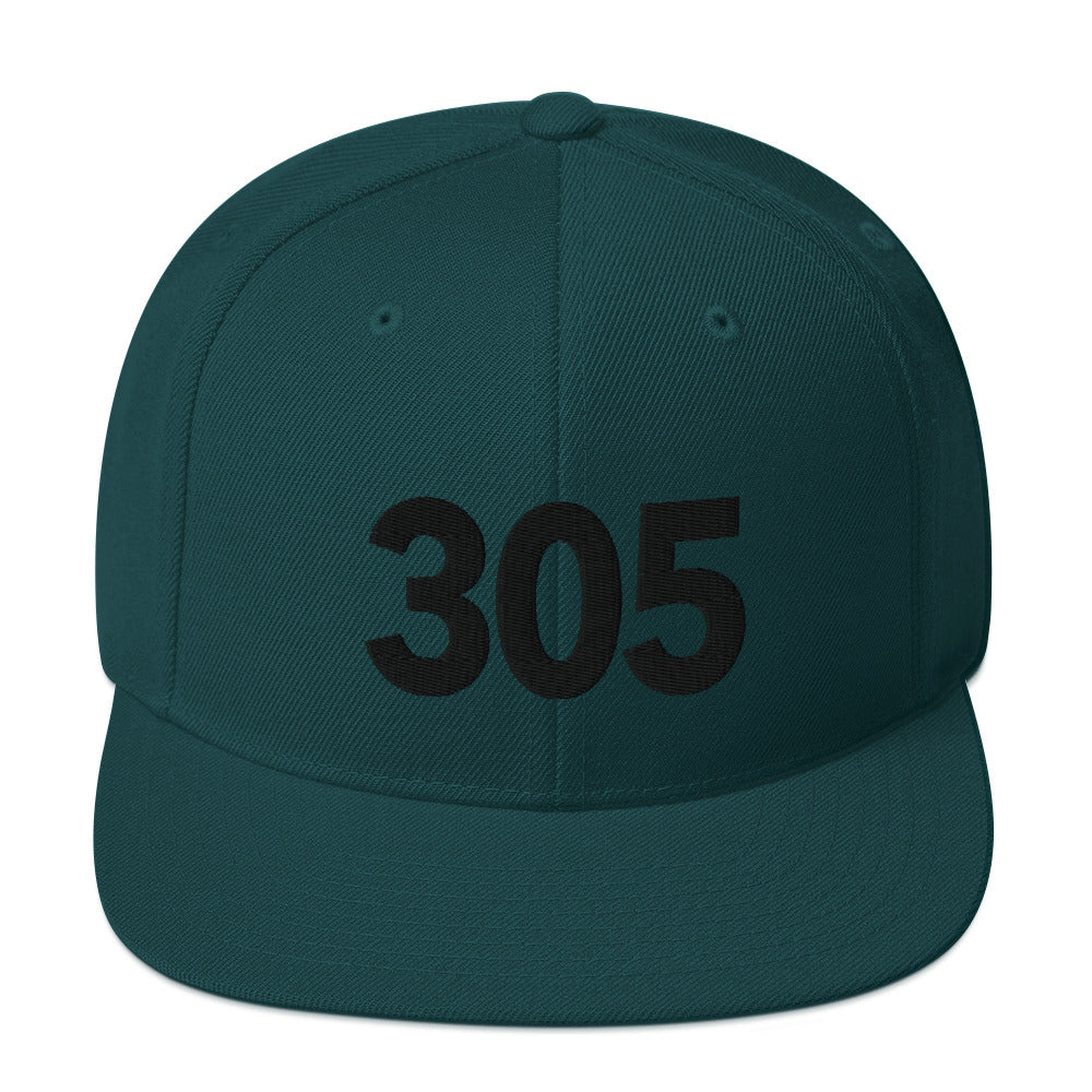 305 Area Code Snapback Hat - Black Detail
