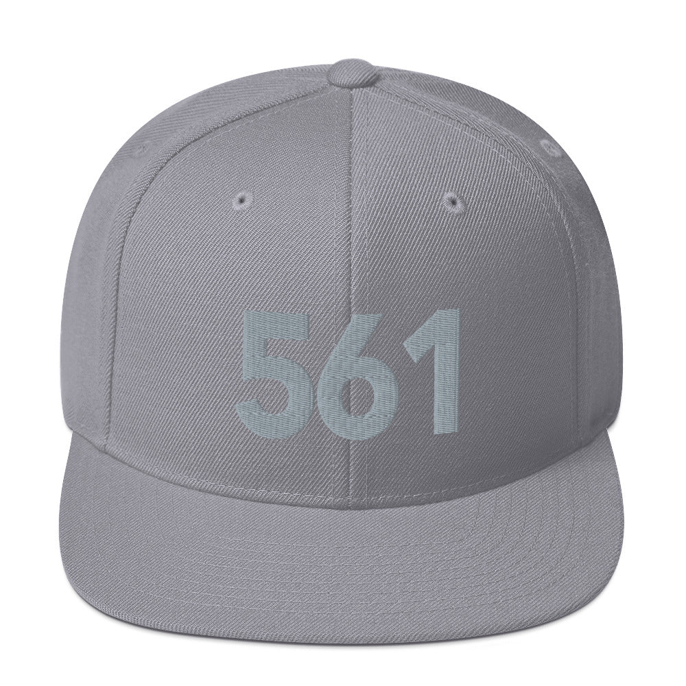 561 Area Code Snapback Hat - Gray Detail