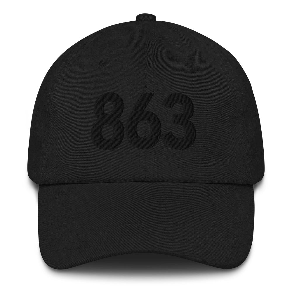 863 Area Code Dad Hat - Black Detail