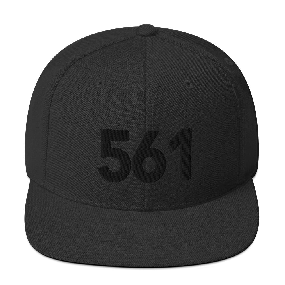 561 Area Code Black Detail Snapback Hat